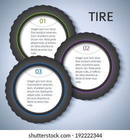Tire service background with icons design elements & copy space place for your text. Modern business presentation template for car tire change flyer. Abstract vector illustration eps 10 for brochure