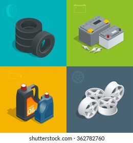 Tire service car auto, repair icons flat set isolated vector isometric illustration. Consumables for car.