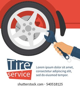 Tire service concept. Auto mechanic hold adjustable wrench in hand changing tire. Car wheel in auto repair shop. Vector illustration flat design. Isolated on background. Vehicle maintenance.