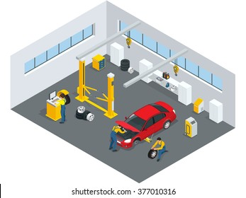 Tire service design concept with swappable drivers online buying 24 hours. Flat 3d isometric vector illustration