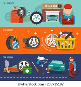 Tire service flat banner set with shop car repair mechanic isolated vector illustration