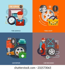 Tire service flat set with shop car repair mechanic isolated vector illustration.