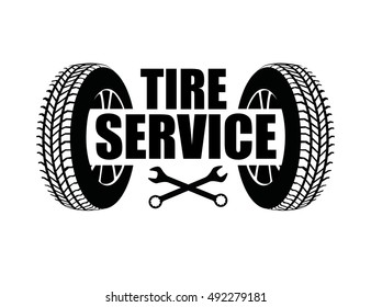 Tire service icon isolated on white background. Vector badge with wheels for tire service.