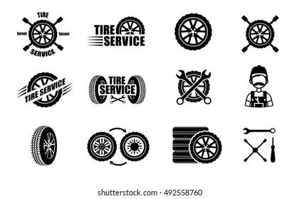 Tire service icons and logotypes. Vector tire, wrench, wheel and badges for tire service or car repair. Vector illustration.