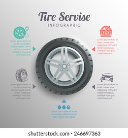 Tire service professional wheels installation service infographic elements set vector illustration