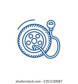 Tire service, pump,tire pressure line icon concept. Tire service, pump,tire pressure flat  vector symbol, sign, outline illustration.