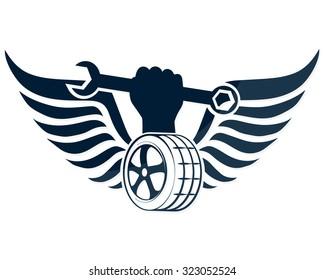 Tire service, a symbol the vector