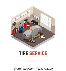 Tire service workshop interior with automobile jacks car tire fitting and balancing equipment isometric vector illustration