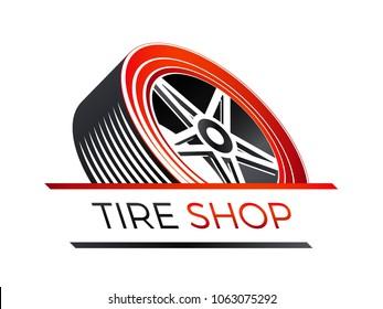 tire shop - 3d look of a car wheel