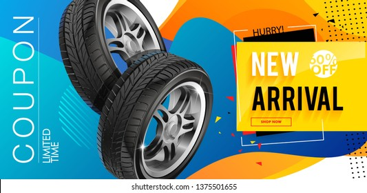 Tire shop coupon, discount. Voucher ticket card. Coupon on auto service and maintenance, tire repair, swapping wheel replacement, car diagnostics.