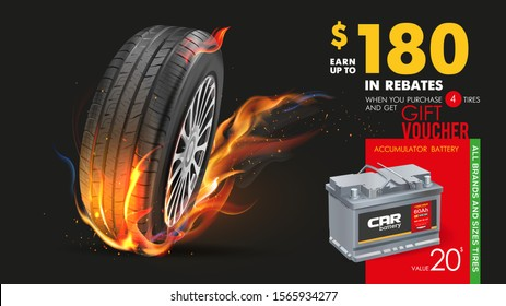 Tire shop vector banner of car wheel tyres and sale price offer. Tire shop, spare parts and auto service discount promotion design. Tyres car advertisement poster. Car battery. Tire on fire.