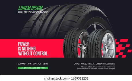 Tire shop vector banner of car wheel tyres with tread track price offer. Tire shop, spare parts and auto service discount promotion design. Editable graphic layout. Black Friday sale.