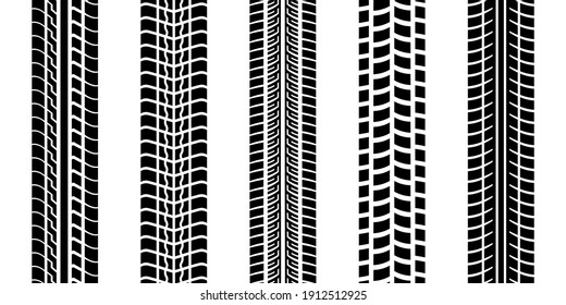 Tire trace track, wheels braking distances, tread silhouettes brushes, isolated car or motorcycles vector trails