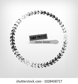 Tire track circle grunge frame. Digital vector illustration. Automotive background element useful for poster, print, flyer, book, booklet, brochure and leaflet design. Editable graphic image.