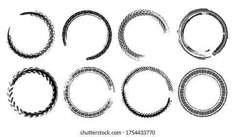 Tire track circle grunge frame. Digital vector illustration. Automotive background elements set for poster, print, flyer, booklet, brochure and leaflet design. Editable image in monochrome colors.