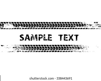 Tire Track. Grunge Banner. tread. Vector Print Textured