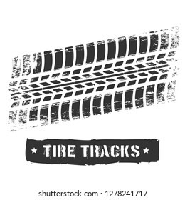 Tire track print. Car or motorcycle tread design, dirty road rubber motocross bike printed texture, racing tread dirt on background, vector illustration