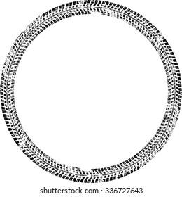 Tire Track Vector Round Border Frame . Distressed Overlay Grunge Design