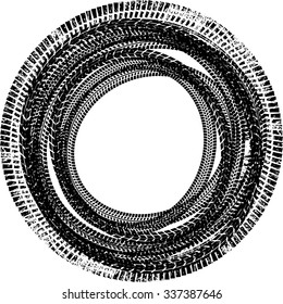 Tire Track Vector Round Border Frame . Circle Design