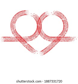 Tire tracks in heart form. Car thread silhouette. Vector illustration.