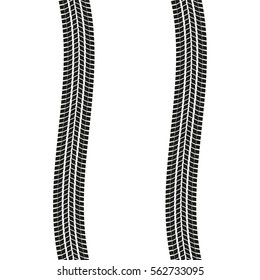 Tire tracks isolated on white background. Winding Tyre prints. Vector illustration.