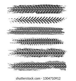 TIRE TRACKS. Motorcycle, car and truck dirty grunge road tire prints. Tread automobile vector isolated set