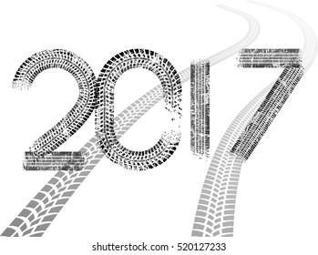 Tire Tracks . New year 2017. Car tread silhouette.