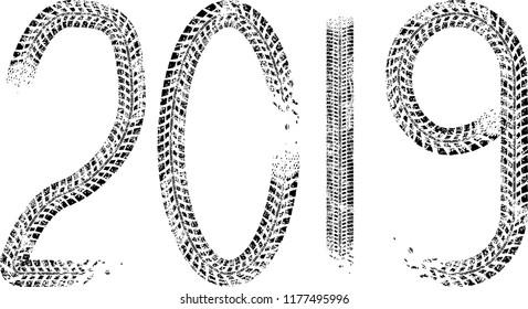 Tire Tracks . New year 2019. Car tread silhouette.