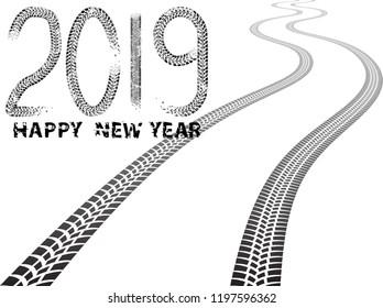 Tire Tracks . New year 2019. Vector Car tread silhouette.