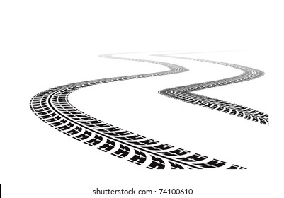 tire tracks in perspective view. Vector illustration isolated on white background