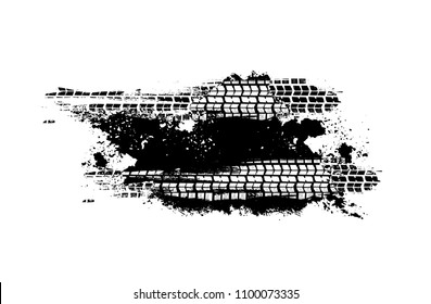 Tire Tracks Print Texture. Horizontal grunge banner. Off-road background. Graphic vector illustration. Editable graphic image in black colour isolated on a white background.