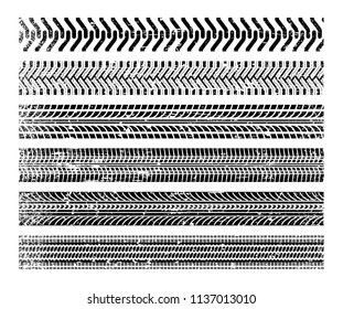 Tire tracks set. Black impressions left by vehicle tires on the surface. Vector flat style cartoon illustration isolated on white background