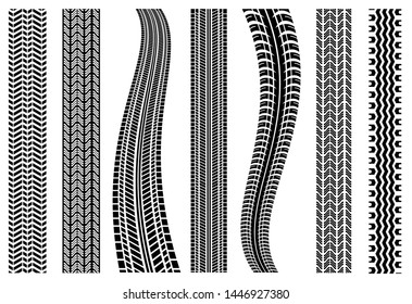 Tire Tracks | Set of Detailed Tire Prints Vector Illustration Silhouette