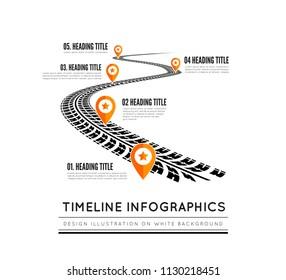 Tire tracks timeline infographics. Vector illustration on white