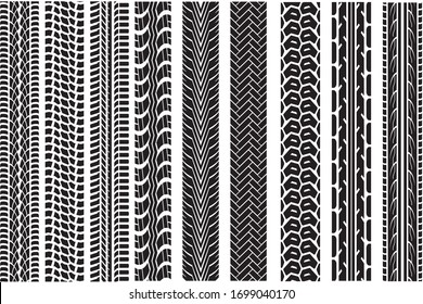 Tire tracks. Tread wheel vehicle thread speed highway motocross trace car road rubber black texture seamless print set vector pattern