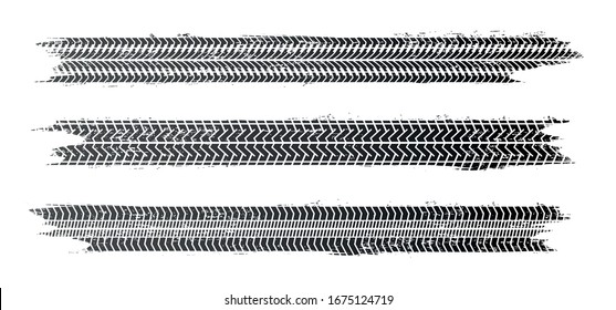 Tire tracks, vector illustration, grunge.