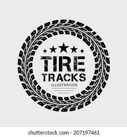 Tire tracks. Vector illustration on grey background
