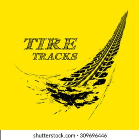Tire tracks. Vector illustration on yellow background