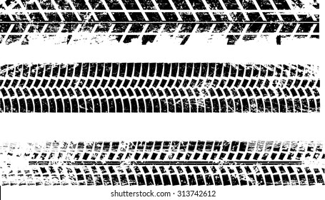 Tire Tracks . Vector Print Textured Set .