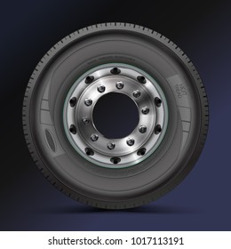 Tire, tyre, wheel. High quality vector illustration of typical truck fore wheel, isolated on color background