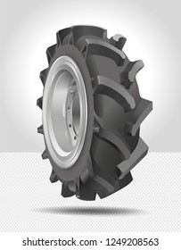 Tire, tyre, wheel icon. High quality vector illustration isolated on white background. 3D illustration. Tractor wheel. Black rubber tire. Realistic vector shining disk. Aluminum wheel.