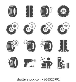 Tire, Tyre and wheel icons set
