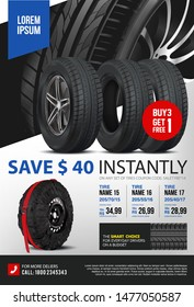 Tire vector. Vector automotive banner template. Black rubber illustration. Landscape poster, digital banner, flyer, booklet, brochure, web design. Promo. Information. Store. Action. Realistic vector.