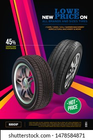Tire vector. Vector automotive banner template. Black rubber illustration. Advertising poster, digital banner, flyer, booklet, brochure, web design. Promo. Information. Store. Action. Realistic vector