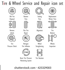 Tire & Wheel Service and Repair, vector icon set