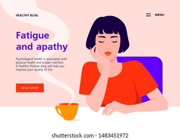 A tired Asian woman sits at the table and holds her head in her hand. Apathy and depression. Boring study and work. Website template for health and lifestyle. Vector flat illustration