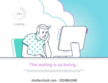 Tired and bored man is working with computer. Flat fun line vector illustration of tired student studying or working using pc at home desk. Young man waiting website loading at his desktop he sleeping
