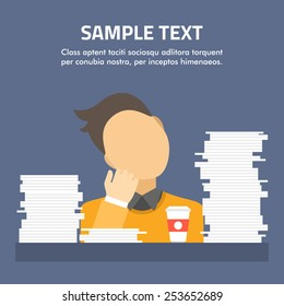 Tired businessman asleep at office desk full of papers. Flat vector illustration