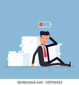 Tired businessman or manager sitting near the pile of documents. Deadline. No energy to work. Discharged battery. Vector, illustration EPS10.