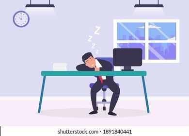 Tired businessman sleeping 2D flat vector concept for banner, website, illustration, landing page, flyer, etc.